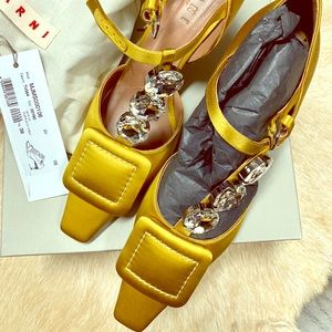 Marni MaryJane Embellished Satin Yellow39NEW